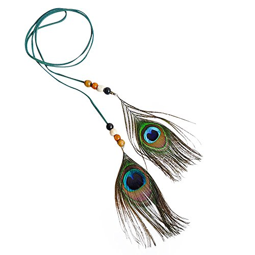 VRTUR Damen Stirnbänder Hippie Boho Indianer Stirnband Feder Stirnbänder für Abendkleider Halloween Karneval Haarschmuck Haarbänder