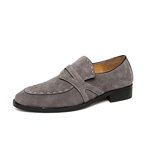 Jingkeke Herren Business Penny Loafer for Herren Slip-On-Kleid Work Loafer Schuhe Weiche synthetische Wildleder-Gummisohle Ins Auge fallend Mode (Farbe : Grau, Größe : 46 EU) -