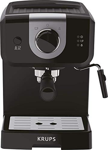 Krups Opio XP320810 - Caffettiera 15 bar di pressione, scaldavivande e montalatte, controllo girevole, nero/argento (Ricondizionato)