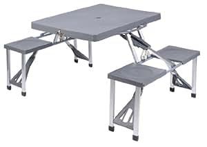 Tavolo valigia pieghevole con 4 posti a sedere ideale per picnic e campeggio - Tavolo pieghevole a valigia ...