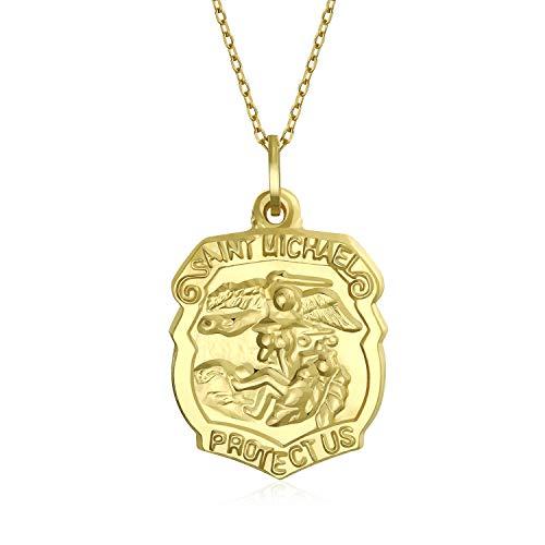 14K Gelb Gold Saint Michael für Schutzschild religiösen Metall Anhänger 18 in Gelb Gold Halskette für Männer - Winzige Gold-charme-halskette