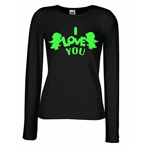 Weibliche langen Ärmeln T-Shirt Amorengel sagt: Ich liebe dich Zitate und Sprüche (XX-Large Schwarz (Die Besten Für Minute Kostüme Last Jungs)