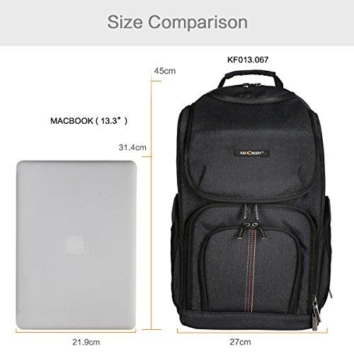 """Imagen de k&f concept   fotografía cámara, multiples lentes, ordenador portátil 13.3"""" con gran capacidad 750d poliéster impermeable, color negro, tamaño 27*21.5*45cm alternativa"""