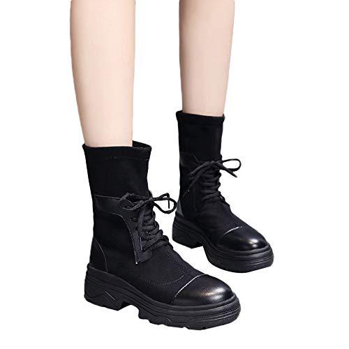 Preisvergleich Produktbild TianWlio Stiefel Frauen Herbst Winter Schuhe Stiefeletten Boots Retro Dicken Unteren Schuh Runder Zeh Warmhalten Socken Mittelrohr Schuhe Boot