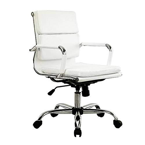 Stühle XUERUI Mitte Zurück Gerippt PU Leder Schwenken Einstellbar Designer Boss Manager Büro Konferenz Zimmer Arbeit Aufgabe Dauerhaft (Farbe : Weiß) -
