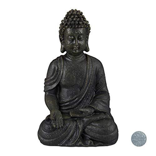 Relaxdays Buddha Figur sitzend, 30 cm, Gartenfigur, Dekofigur Wohnzimmer, Keramik, wetterfest, frostsicher, dunkelgrau -