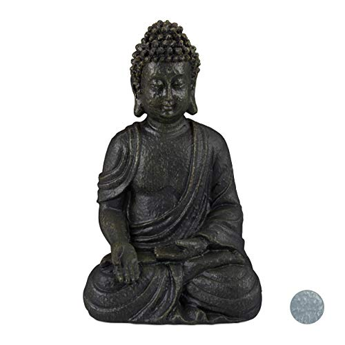 Relaxdays Estatua Buda Sentado para Jardín o Salón, Resina Sintética, Gris Oscuro, 30 cm
