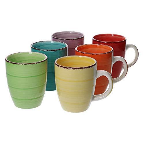 MamboCat 6-TLG. Kaffeebecher-Set Uni bunt Tee-Tasse groß Kaffee-Pott Trink-Becher Kakao-Milch rund 350 ml Porzellan-Geschirr Tafel-Zubehör Frühstück-Buffet (Kaffee Groß Bunt Becher)