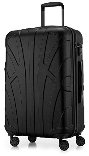 SUITLINE - Hartschalen-Koffer Koffer Trolley Rollkoffer Reisekoffer, TSA, 66 cm, 68 Liter, Schwarz