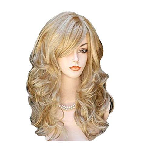 wig JUN Europäisches und Amerikanisches Perückenhaar mit Pony Weibliches Perückenhaar Mittellanges lockiges Haar (Color : Gold) (Mädchen-kleidung-speicher Amerikanische)