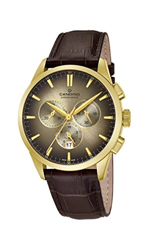 Candino Mens Chronograph Quartz Watch with Leather Strap C4518/5