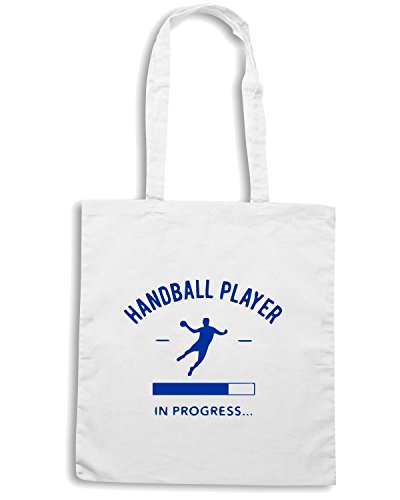 T-Shirtshock - Borsa Shopping SP0071 Handball Player in Progress Maglietta Bianco