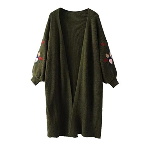 Kanpola Damen Strickpullover, Langarm Strickjacke Übergroße Lose Outwear Mantel (PLUS SIZE, Grün) (Büste Kleid Regal)