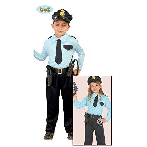 Amakando Polizist Kostüm Kind - 7 - 9 Jahre, 127 - 132 cm - Polizeiuniform Kinder Polizistin Karnevalskostüm Politesse Outfit Wachtmeister Faschingskostüm Polizei ()