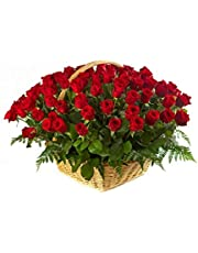 Golden Cart Valentine Gift I Fresh Flower Delivery Flower Basket IConvey 'Special Feeling' of 'Pure Love & Commitment' to Your Loved Ones (41 Fresh Roses Red)
