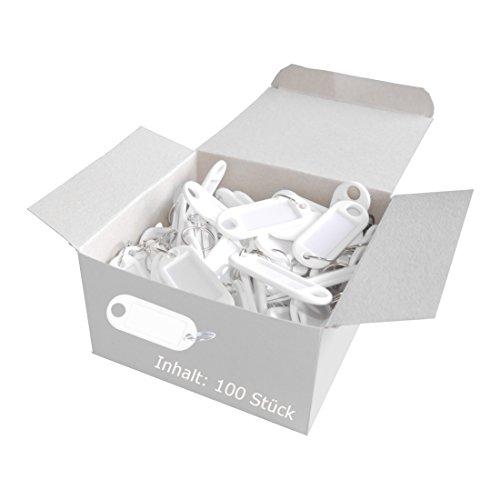 �sselanhänger Kunststoff (mit Ring, auswechselbare Etiketten) 100 Stück, weiß ()