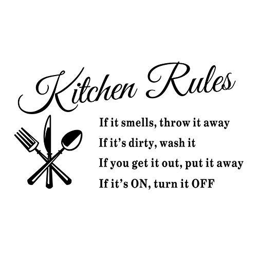 Trifycore Hot Popular Kitchen Rules Drucke Wandaufkleber Wasserdichte Wand Aufkleber Kunst-Wand-Dekor-Aufkleber-Kennzeichnung für das Garnish House, DIY & Tools -
