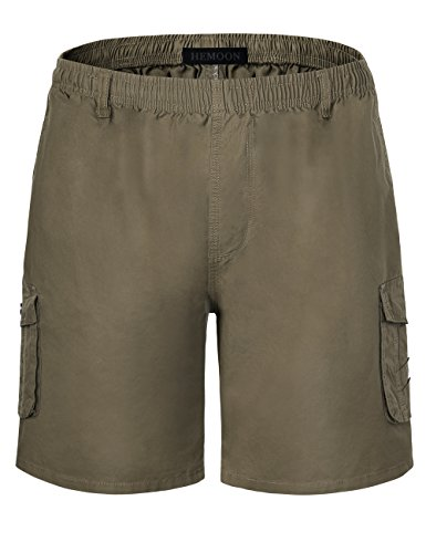 HEMOON Bermuda Short für Herren Cargo Kurze Hose 100% Baumwolle Slim fit Stretch Grün X-Large (Herren-stretch-cargo-shorts)