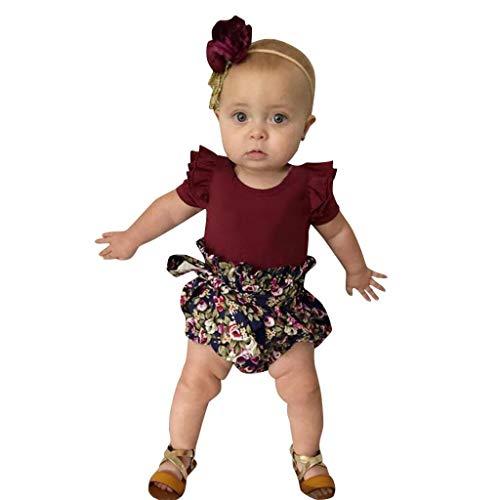 glingsbaby-gekräuselter Spielanzug-Bodysuit-PP-Shorts mit Blumendruck-Outfits Kinder Kurzarm Rüschen Volltonfarbe Haber Blumendruck Shorts Set ()