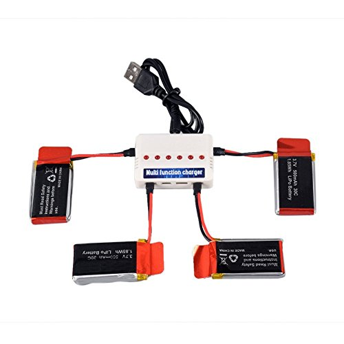 YouCute 4pcs 3.7V 500mAh Upgraded Battery and 1to6