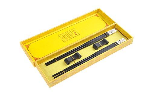 """Abacus Asiatica: set palillos chinos hechos de madera de gran calidad. Madera de ébano con adornos metálicos, diseño """"Panda con bambú"""", viene con soporte para los palillos en una caja de regalo (2 pares de palillos y dos soportes), Mod. CB-S2-G-M03 (DE)"""