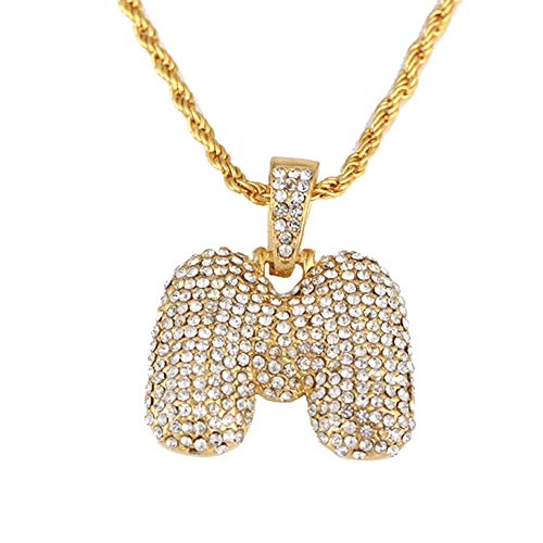 bbba5e49c8f3 Homeofying Hip Hop Strass Lettere Ciondolo Collana Unisex Party Jewelry  Gift – Golden x