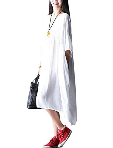 Youlee Donna Batwing Manica Irregolare Taglia Grossa Vestito Bianca