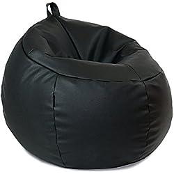 MiPuf - Puff Trufa Original - Tamaño 60x60x50 - Tejido Polipiel Alta Resistencia - Doble Cremallera - Relleno Incluido - Negro - 4 años de Garantía