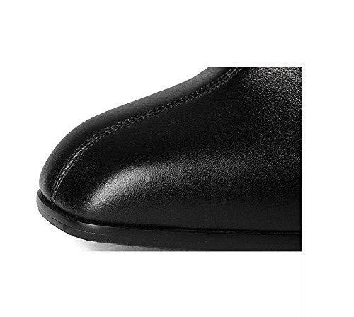 """YYH Bottes Classic Short Suede couleur unie """"BOLD"""" Fashion Square Head avec chausson épais Black"""