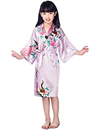 Juleya Kids Girls Batas de seda Traje de satén corto floral Peacock Kimono mancha ropa de dormir