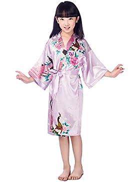 CuteOn Bambini Ragazze Kimono Raso Seta morbido Fiorire Pavone Accappatoi Biancheria da notte per Bambini Nozze...