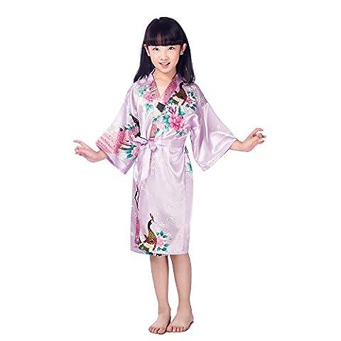 GL&G Chemises de nuit pour enfants Vêtements pour la maison Kimono Hommes et femmes Impression pour animaux Pyjama en soie Peignoirs violets clairs,Light