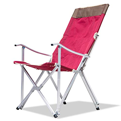 Chaise pliante en aluminium pour extérieur Portable Napping Lunch Chair Fauteuil inclinable Chaise de pêche Lounge Chair Rouge