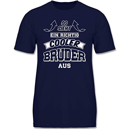 Geschwisterliebe Kind - So Sieht EIN richtig Cooler Bruder aus - 110-116 (5-6 Jahre) - Navy Blau - F140K - Jungen T-Shirt