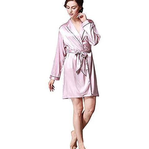 SaiDeng Mujer Color Puro Vestido Kimono Albornoces Pijamas Satén Pink Claro