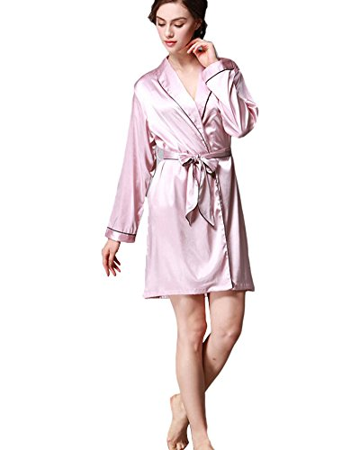 SaiDeng Elegant Femmes Kimono Peignoir Robe Peignoir De Nuit De Bain Pyjama En Soie Light Pink