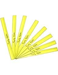 Reflex banda 8x Unidades–para una mayor seguridad en el tráfico, caza, deporte, bicicleta, correr, materiales reflectantes–Líquidos, banda reflector, bombilla de banda en amarillo, amarillo neón