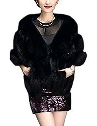Mujeres Chales Estolas De Piel Sintetico Faux Abrigos Elegante Chaquetones Cárdigan Mantón Con Bolsillo
