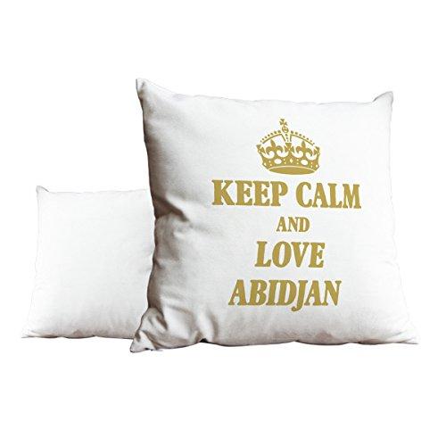 Gold Keep Calm und Love Abidjan weiß Scatter Kissen 2067