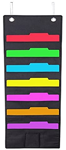 Hanging File Folder Holder Cascading Fabric Organizer- 7 Pocket Home School Office Classroom Filing Storage-Vertical Pocket Chart- Wall or Door Mounted System-Bonus Pencil Pocket and Hangers (Black)