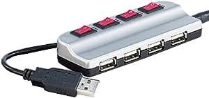 Xystec Aktiver USB-2.0-Hub mit 4 Ports, einzeln schaltbar