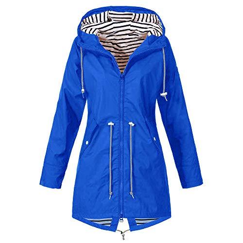 iHENGH Damen Herbst Winter Bequem Mantel Lässig Mode Jacke Frauen Herbst Langarm Mantel Fleece reißverschluss fliegen mit Kapuze einfarbig Sweatshirts(Blau, S) -