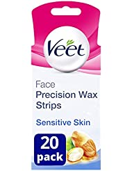 Veet Face Wax Strips for Sensitive Skin, Pack of 20