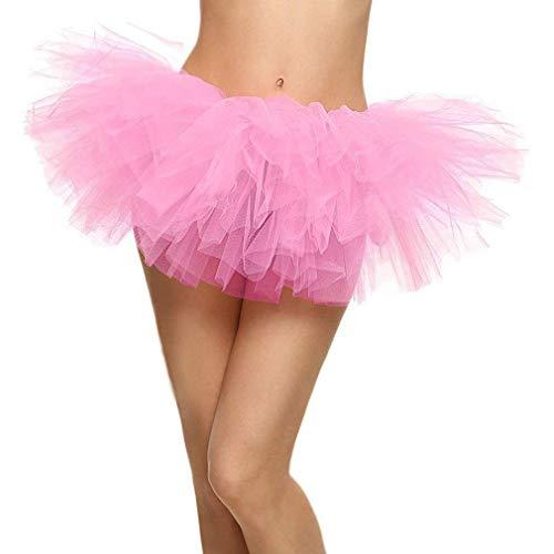Ksnrang Damen Tüllrock Tütü Rock Minirock 5 Lagen Petticoat Tanzkleid Dehnbaren Tutu Rock Erwachsene Ballettrock für Party Halloween Kostüme Tanzen (Rosa, Einheitsgröße)