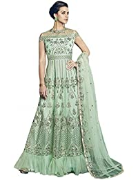 Style New Pastel Green Embroidered Party Wear Attractive Look Stylish Fancy Designer Dress
