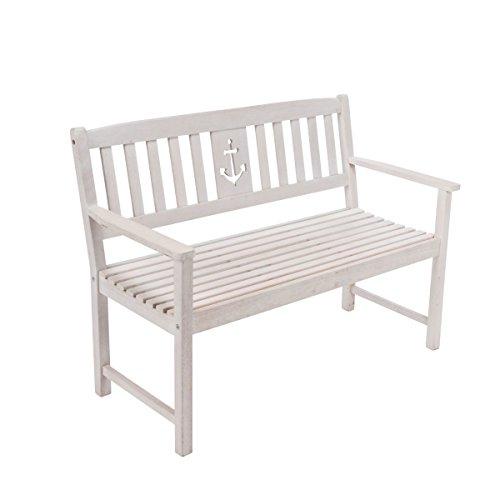 Gartenbank Anker - Maritime Holzbank - 2-Sitzer - Eukalyptusholz - Weiß