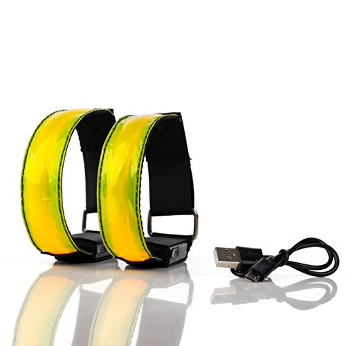 CONJUNTO DE 2 BRAZALETES LED RECARGABLES super brillantes alta visibilidad reflectantes luz LED nocturna para running, ciclismo, senderismo, con parpadeo y LED estático, carga USB (amarillo)