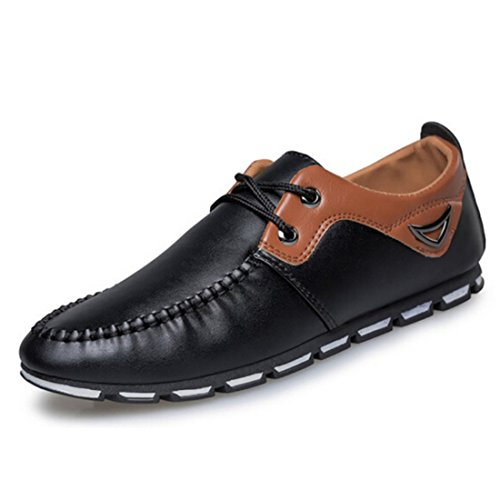 Men's Fashion Moccasins Pu Leather Rubber Casual Shoes Black