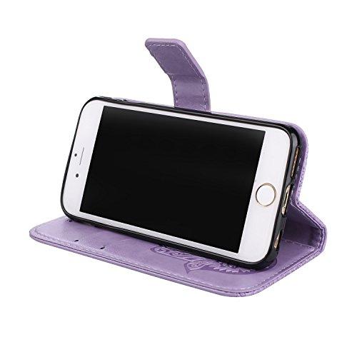 Geprägte Floweer Pattern Retro Style PU Ledertasche Cover mit Geldbörse Tasche & Lanyard & Kickstand für iPhone 6 Plus & 6s Plus ( Color : Rosegold ) Purple
