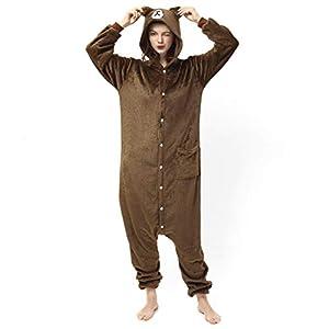 Katara- Pijamas Enteros Diferentes Animales y Tamaños, Adultos Unisex, Color Oso marrón Oscuro, Talla 175-185cm (1744)